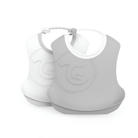 Twistshake haklapp 2-pack, grå/vit