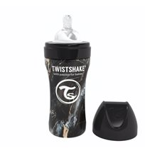 Twistshake Anti-Colic rostfri flaska 330 ml, marble svart