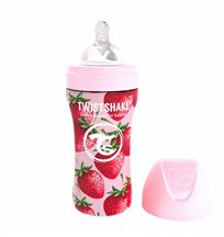 Twistshake Anti-Colic rostfri flaska 330 ml, strawberry