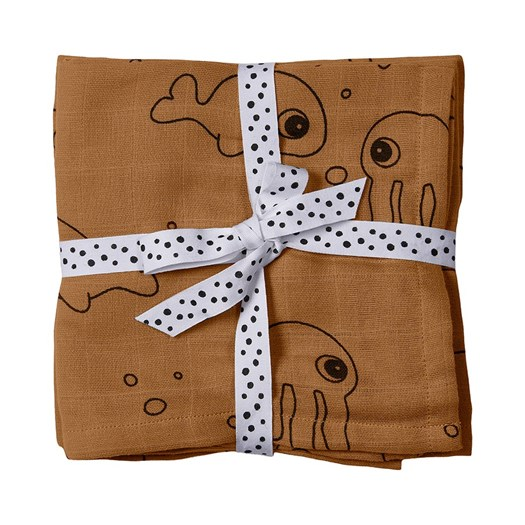 Done by Deer burp cloth 2-pack, sea friends mustard