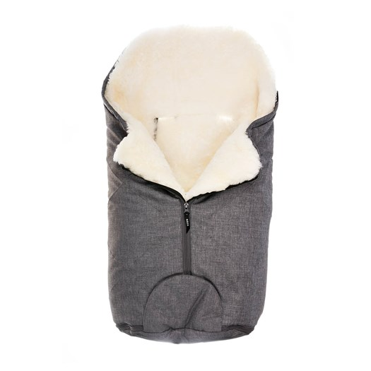 Bozz åkpåse small lammskinn, grå melange/vit korthårig