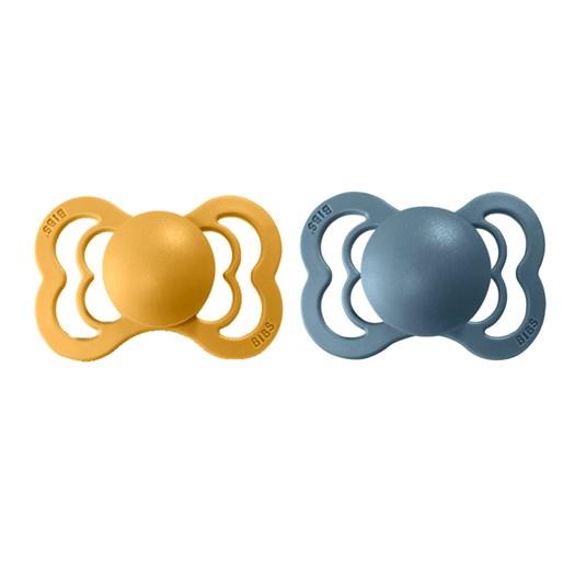 BIBS napp Supreme latex 2-pack 0-6 mån, mustard/petrol