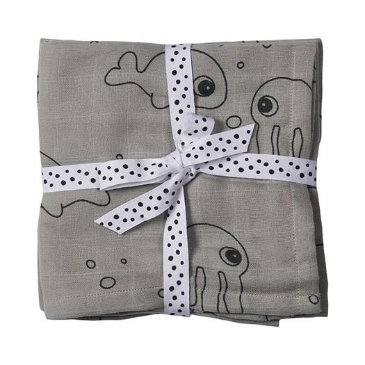 Done by Deer burp cloth 2-pack, sea friends grå