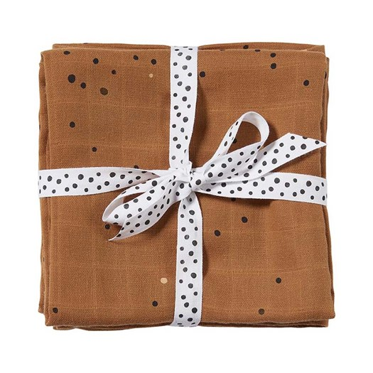 Done by Deer burp cloth 2-pack, dreamy dots mustard