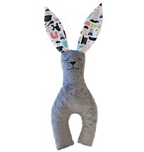 La Millou Bunny long ears stor, hipster lady/grey