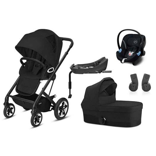 Cybex Talos S Lux duovagn (svart chassi) + Aton 5 babyskydd + bas, valfri färg