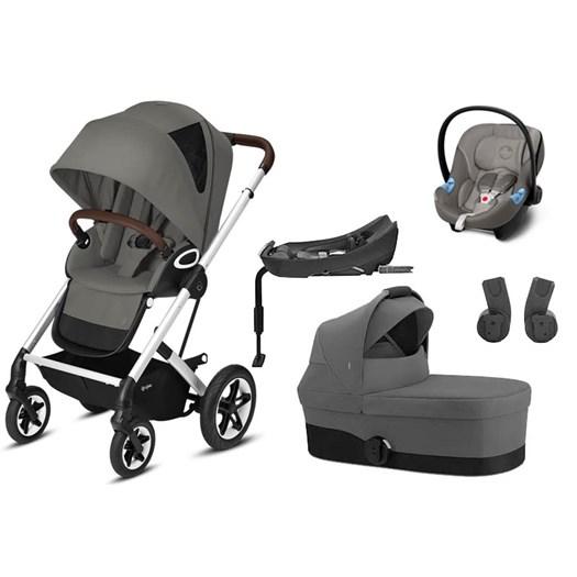 Cybex Talos S Lux duovagn inkl tillbehör (silvrigt chassi) + Aton 5 babyskydd + bas, valfri färg