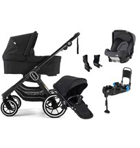Emmaljunga NXT90 ltd edt duovagn, all black + Britax Baby-safe + bas