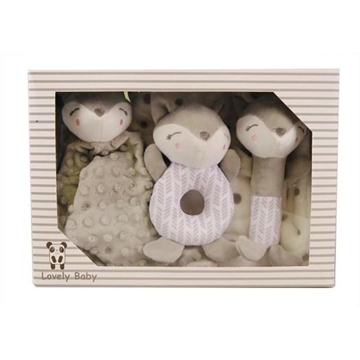 Carlobaby presentkit filt & leksaker, räv grå