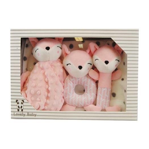 Carlobaby presentkit filt & leksaker, räv rosa