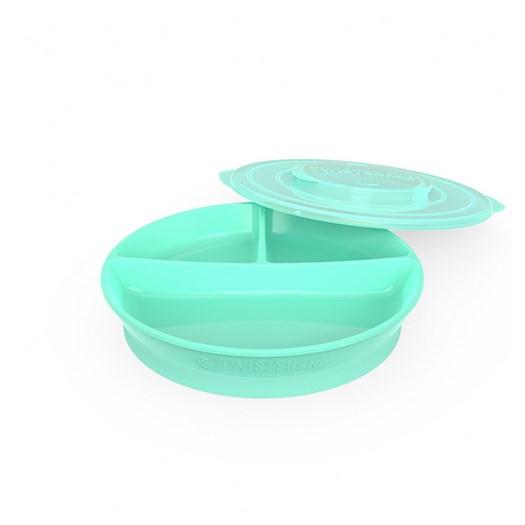Twistshake indelad tallrik, grön pastell